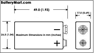 Ultralife Batteries Dimensions