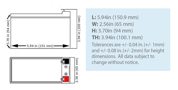 SLA-12V7-F2 Dimensions