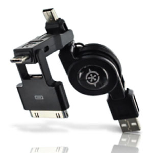 3-in-1 Retractable USB Sync & Charge Cable for iPad iPhone iPod Micro & Mini USB Devices