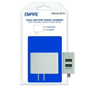 Universal Dual 2-USB Wall Charger 3.1A - White