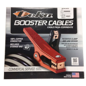 USA-Made Deka 4 Gauge 16 Foot Booster Cables