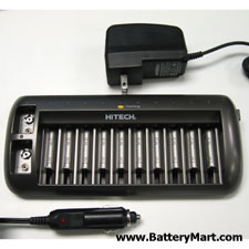 10-slot AA, AAA, and 9V Battery Charger