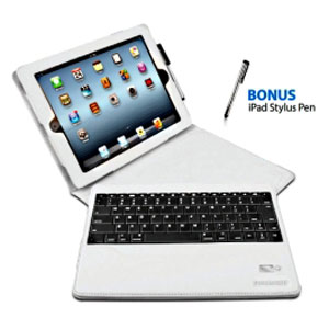 Sleek Portfolio with Detachable Bluetooth Keyboard for the New iPad & iPad 2 - White