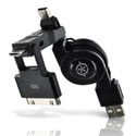3-in-1 Retractable USB Sync & Charge Cable for iPad iPhone iPod, Micro, & Mini USB Devices