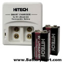 Hitech 9V 2 Bank Smart Charger with 2 9V Lithium Ion Batteries