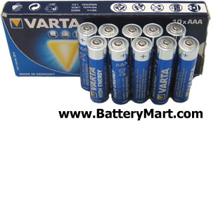 Varta AAA Alkaline Batteries - 10 Pack