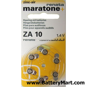 Renata Size 10 Hearing Aid Batteries - 6 Pack