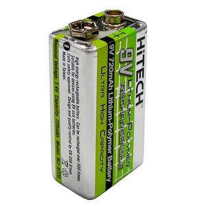 Rechargeable 9 Volt Lithium Polymer Battery