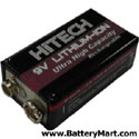 Rechargeable 9 Volt Lithium Ion Battery