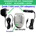 Charger for JVC, Panasonic, and Sony - NiCd/NiMH, 4.8V/6V