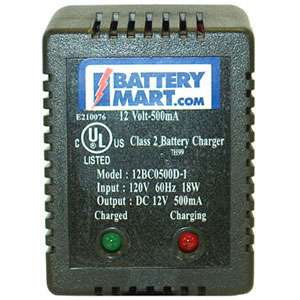 12 Volt 500 mA Sealed Lead Acid Battery Charger with Alligator Clips
