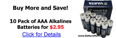 Buy more and save! 10 Pack of AAA alkaline batteries for 2.95