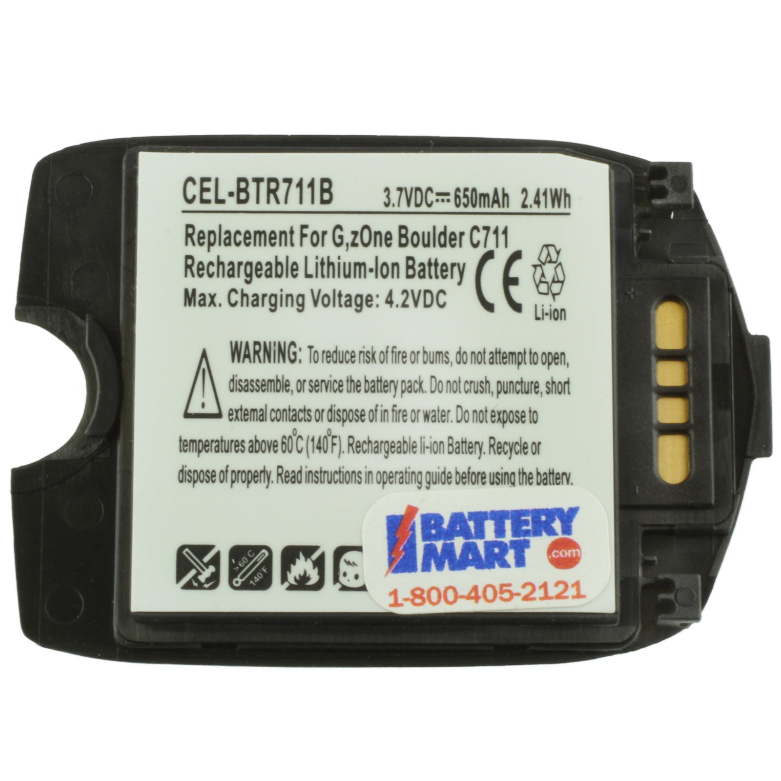 Replacement Casio BTR711B Battery for G'Zone Boulder C711