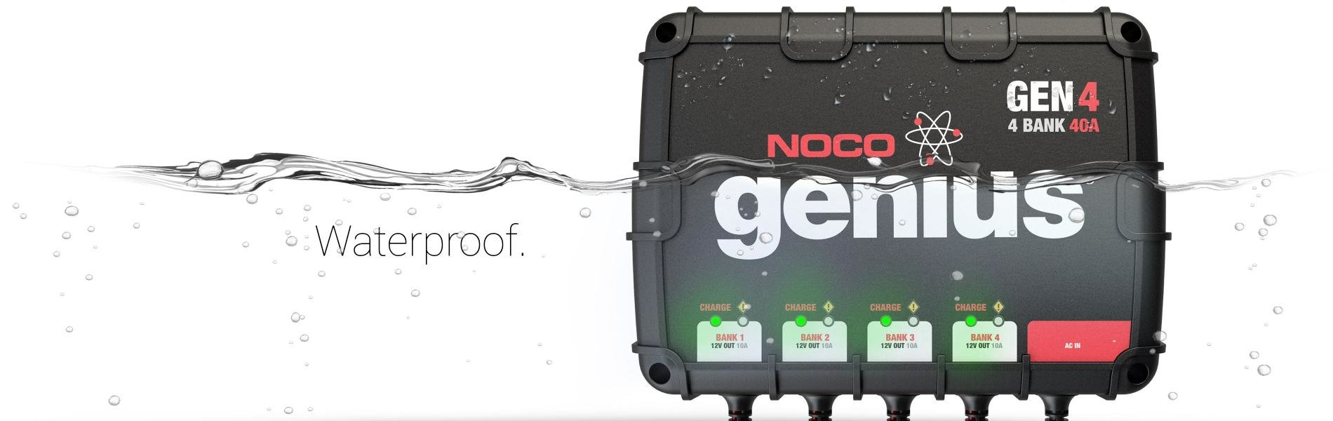 Noco 12 Volt 40 Amp Genius 4 Bank Battery Charger Made In The Usa Wiring Diagram Fully Submersible 100 Completely Sealed Waterproof On Board Designed To Operate Extreme Conditions With A Shock