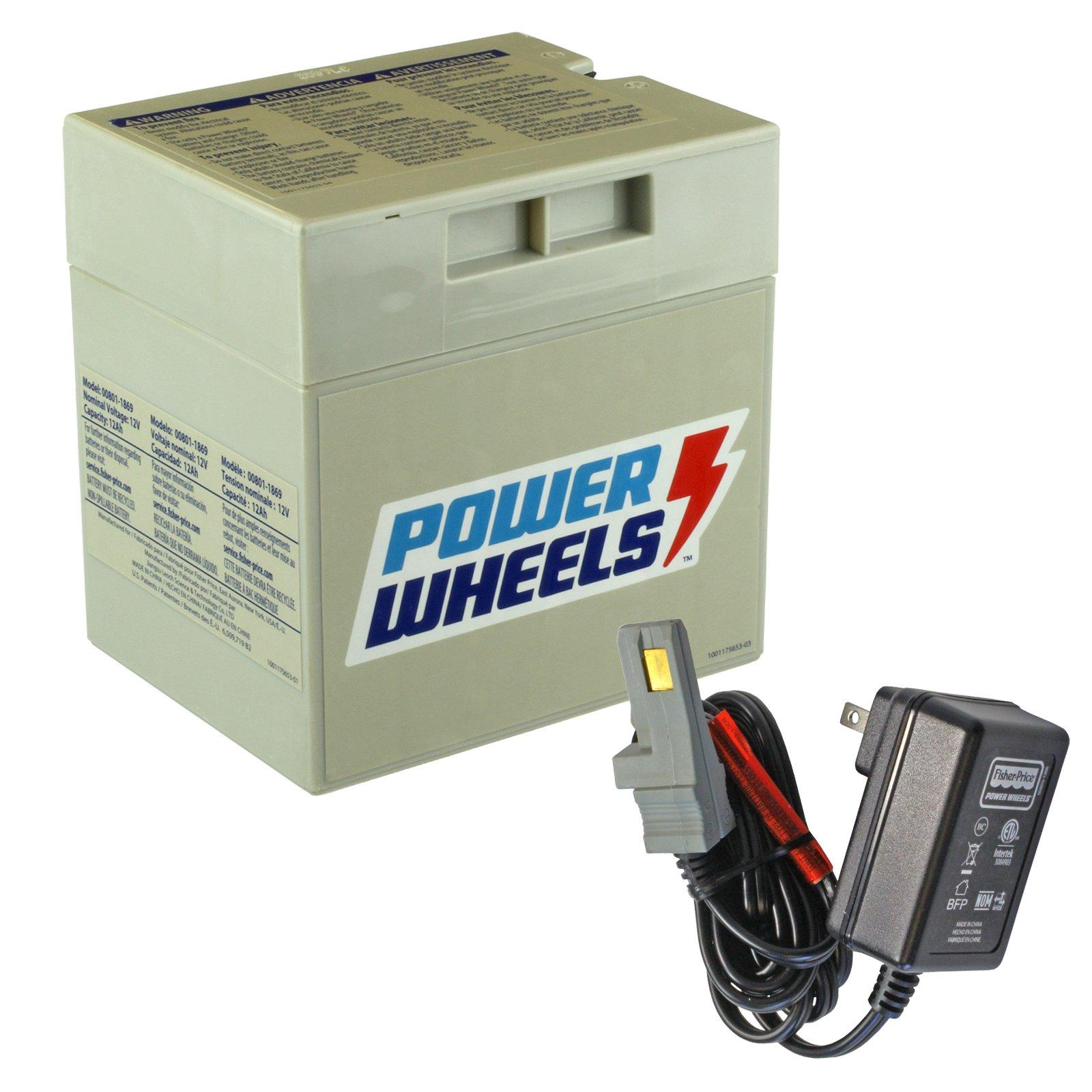 Power Wheels 12V Gray Battery with Charger on