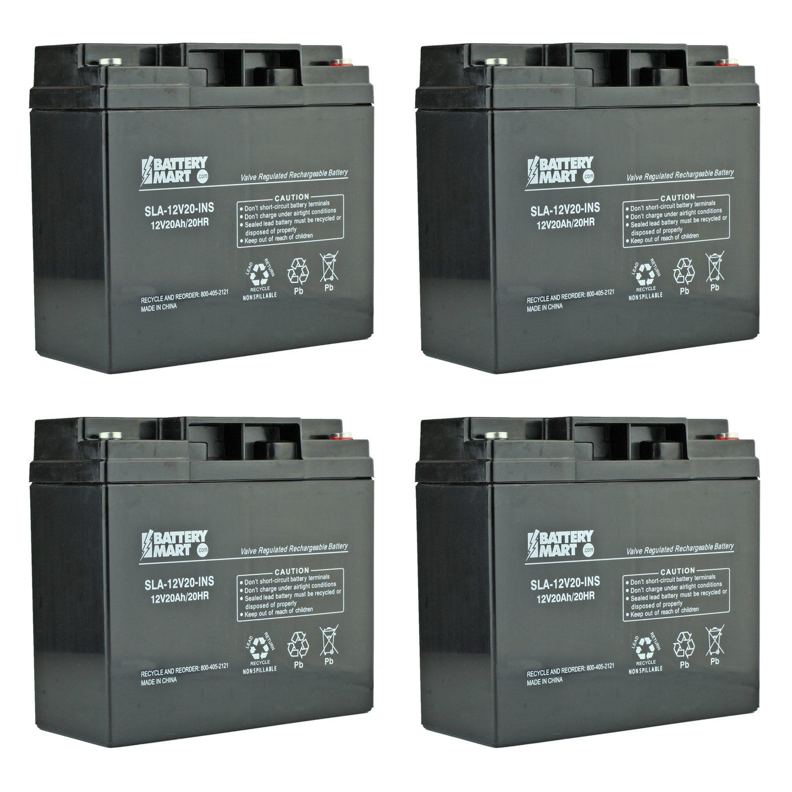4 Pack 12 Volt 20 Ah Sealed Lead Acid Rechargeable