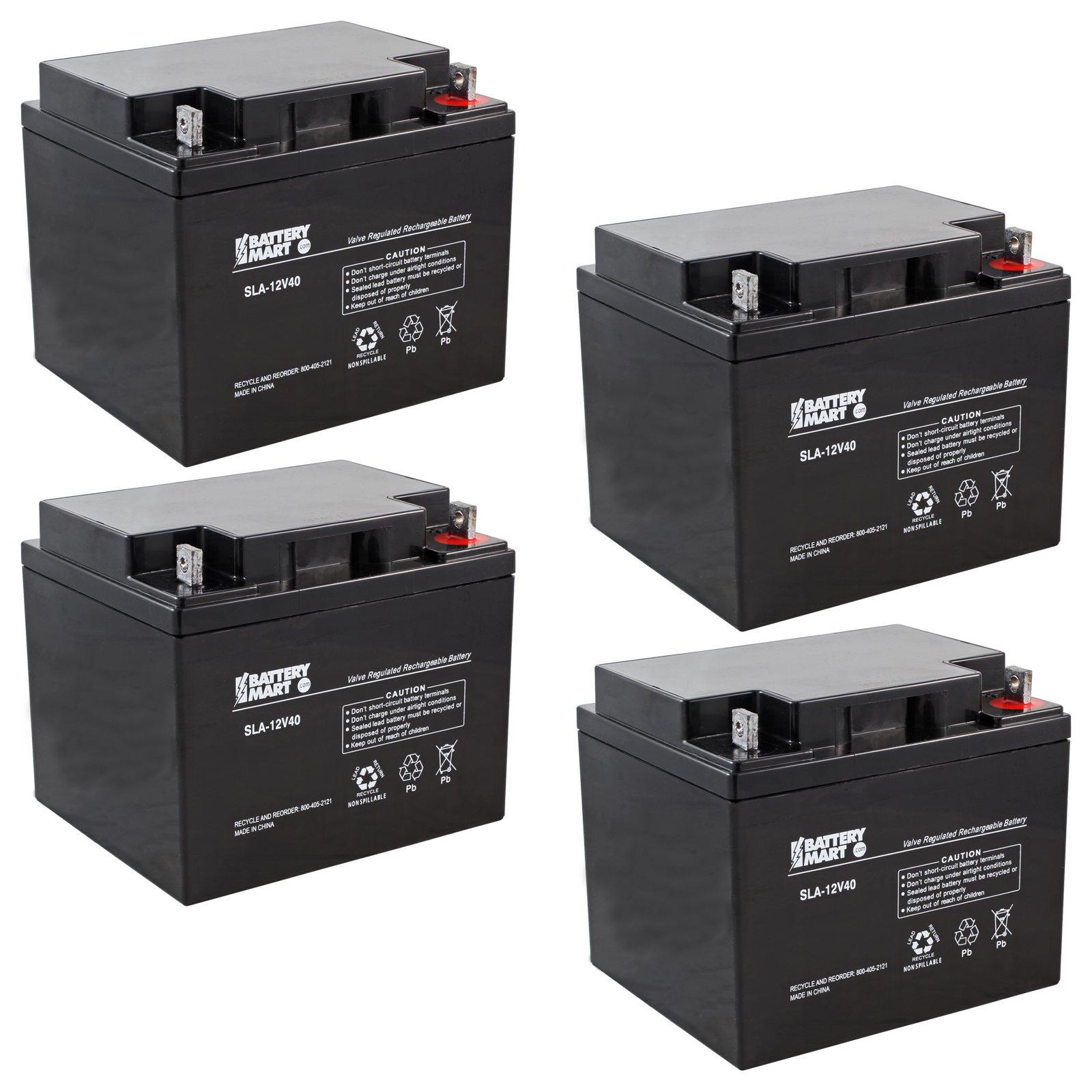 4 Pack 12 Volt 40 Ah Sealed Lead Acid Rechargeable Battery Nut Short Circuit Car Bolt Terminals