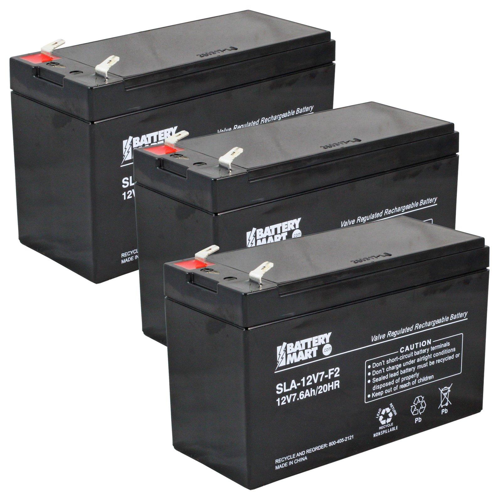 [3 Pack] 12 Volt 7 6 Ah Sealed Lead Acid Rechargeable Batteries - F2  Terminal
