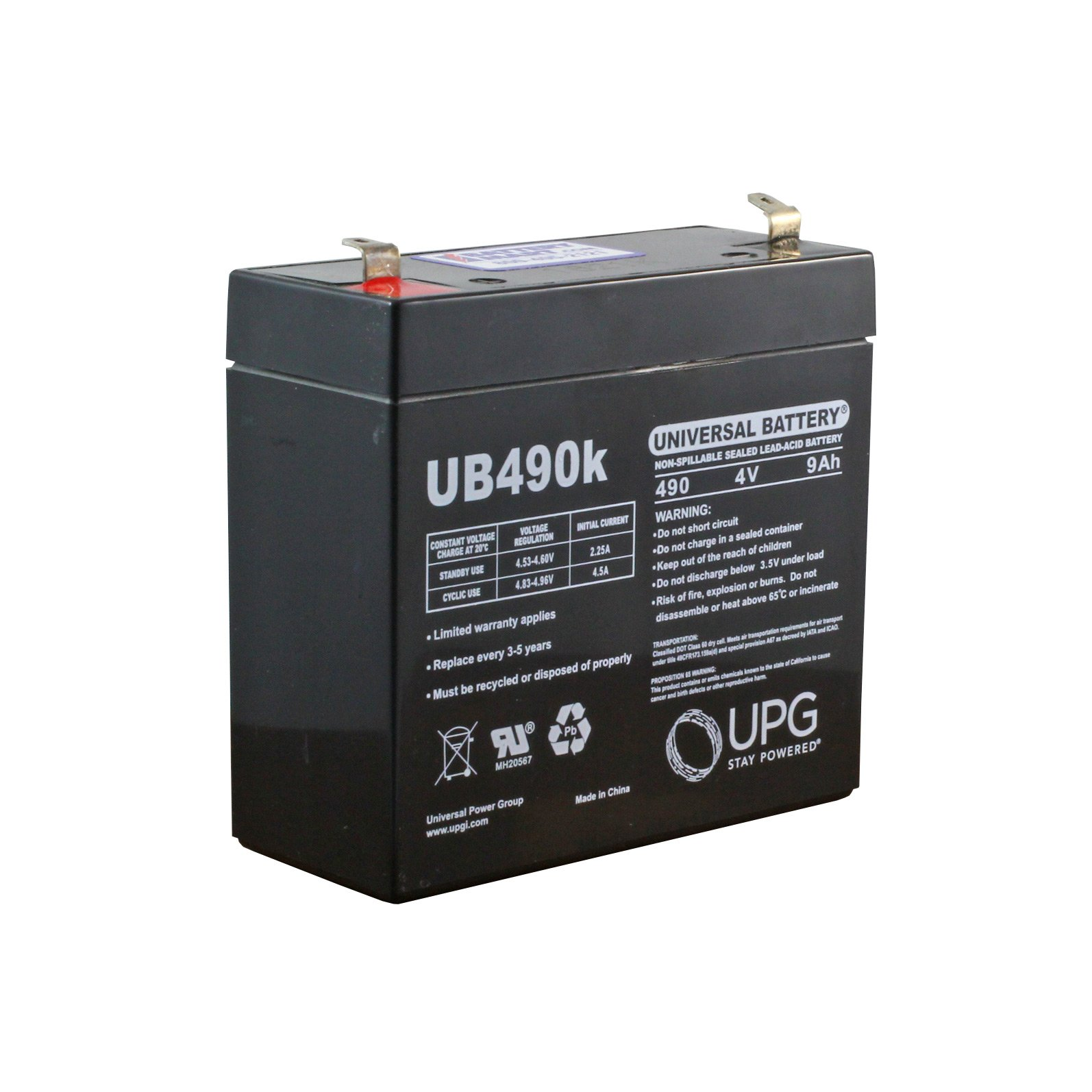 4 Volt 9 Ah Sealed Lead Acid Rechargeable Battery - F1