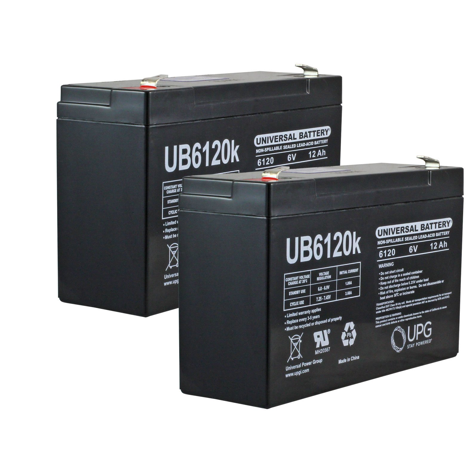 6 volt 12 ah sealed lead acid rechargeable battery 2 pack. Black Bedroom Furniture Sets. Home Design Ideas