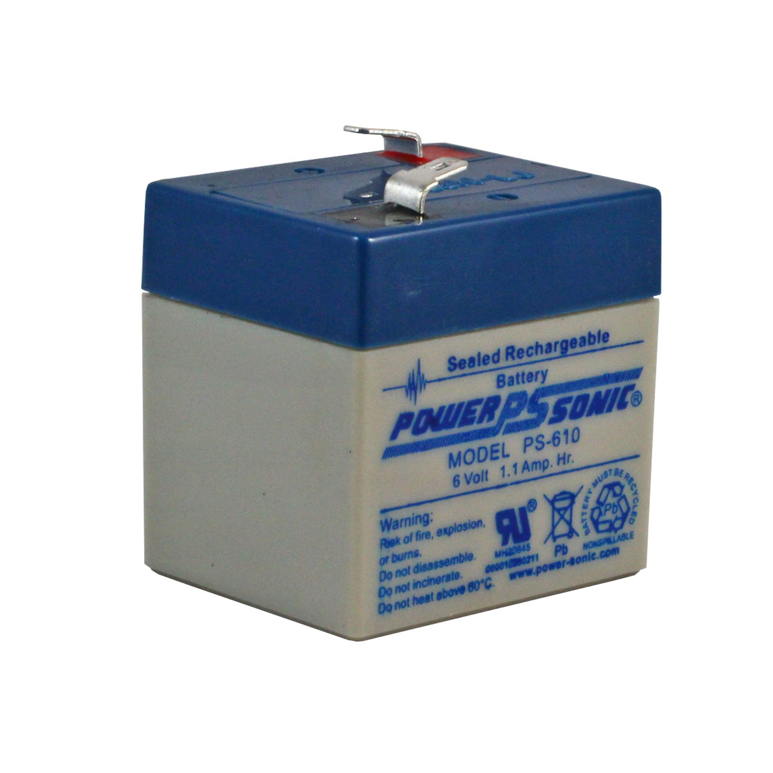 6 Volt 1 Ah Sealed Lead Acid Rechargeable Battery - F1 Terminal