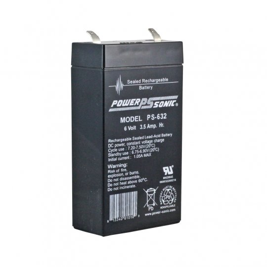 6 Volt 3 2 Ah Sealed Lead Acid Rechargeable Battery - F1 Terminal