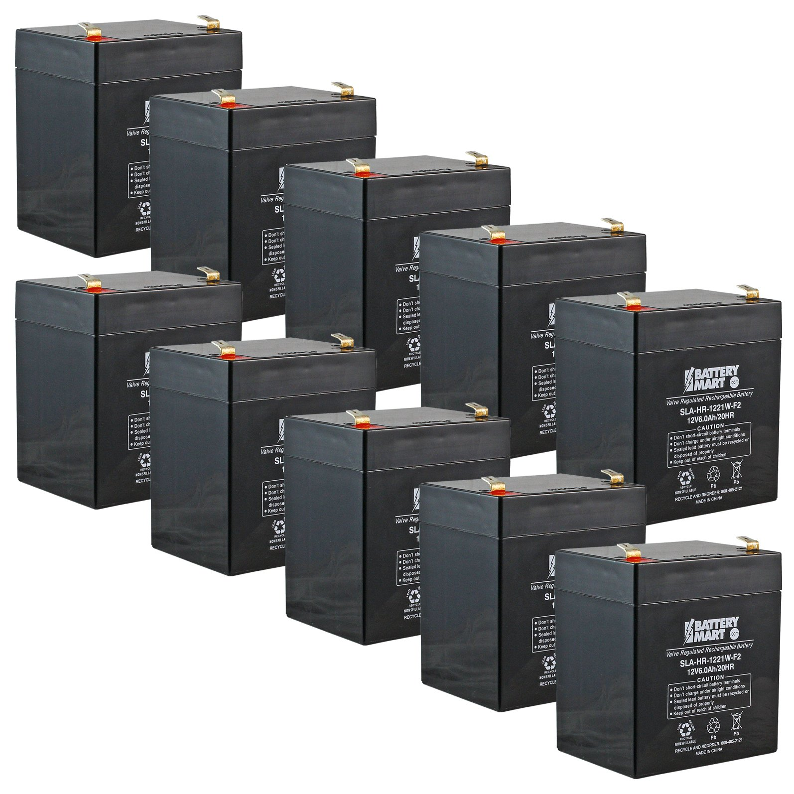 [10 Pack] 12 Volt 5 Ah Sealed Lead Acid Rechargeable Batteries - F2 Terminal