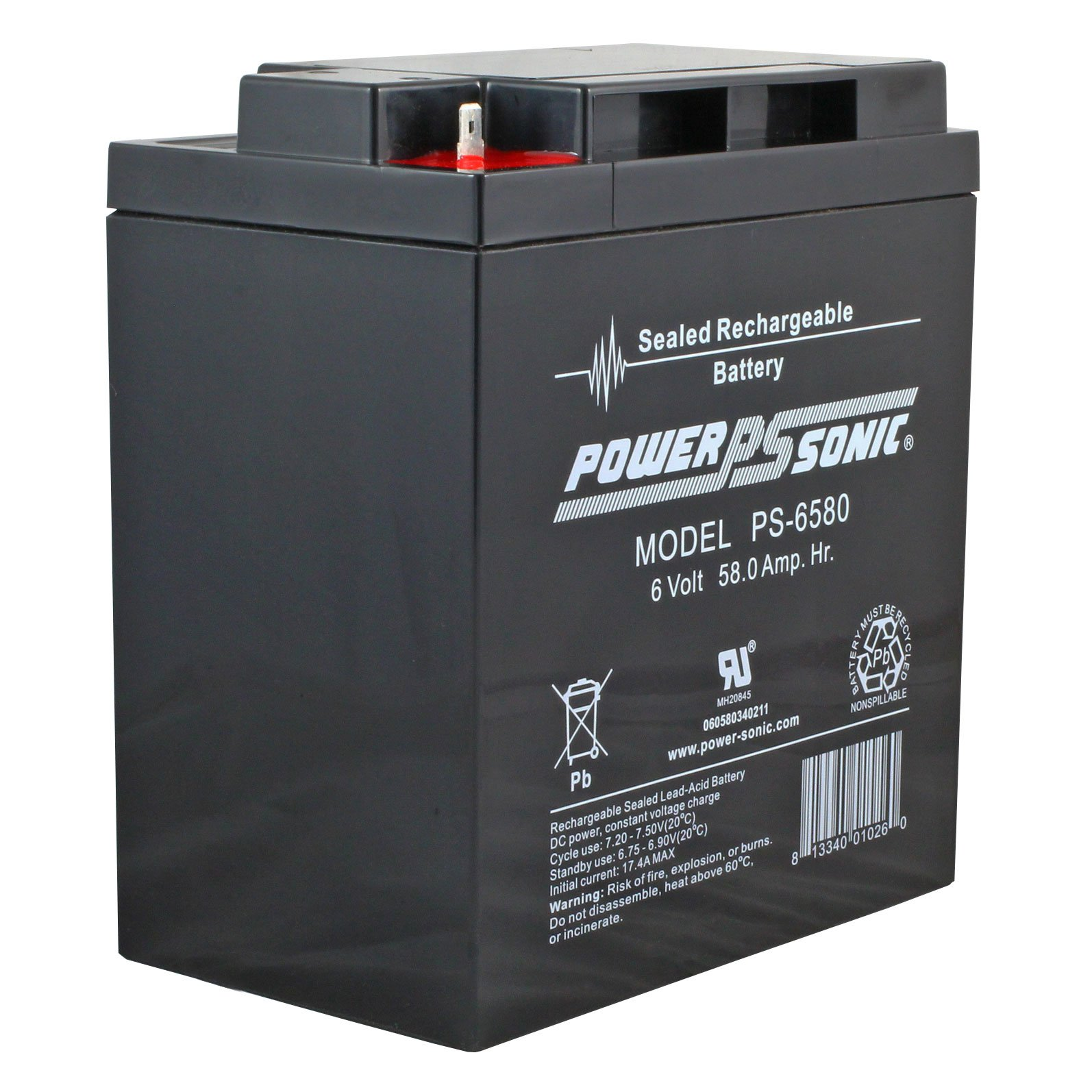 6 Volt 58 Ah Sealed Lead Acid Rechargeable Battery F2