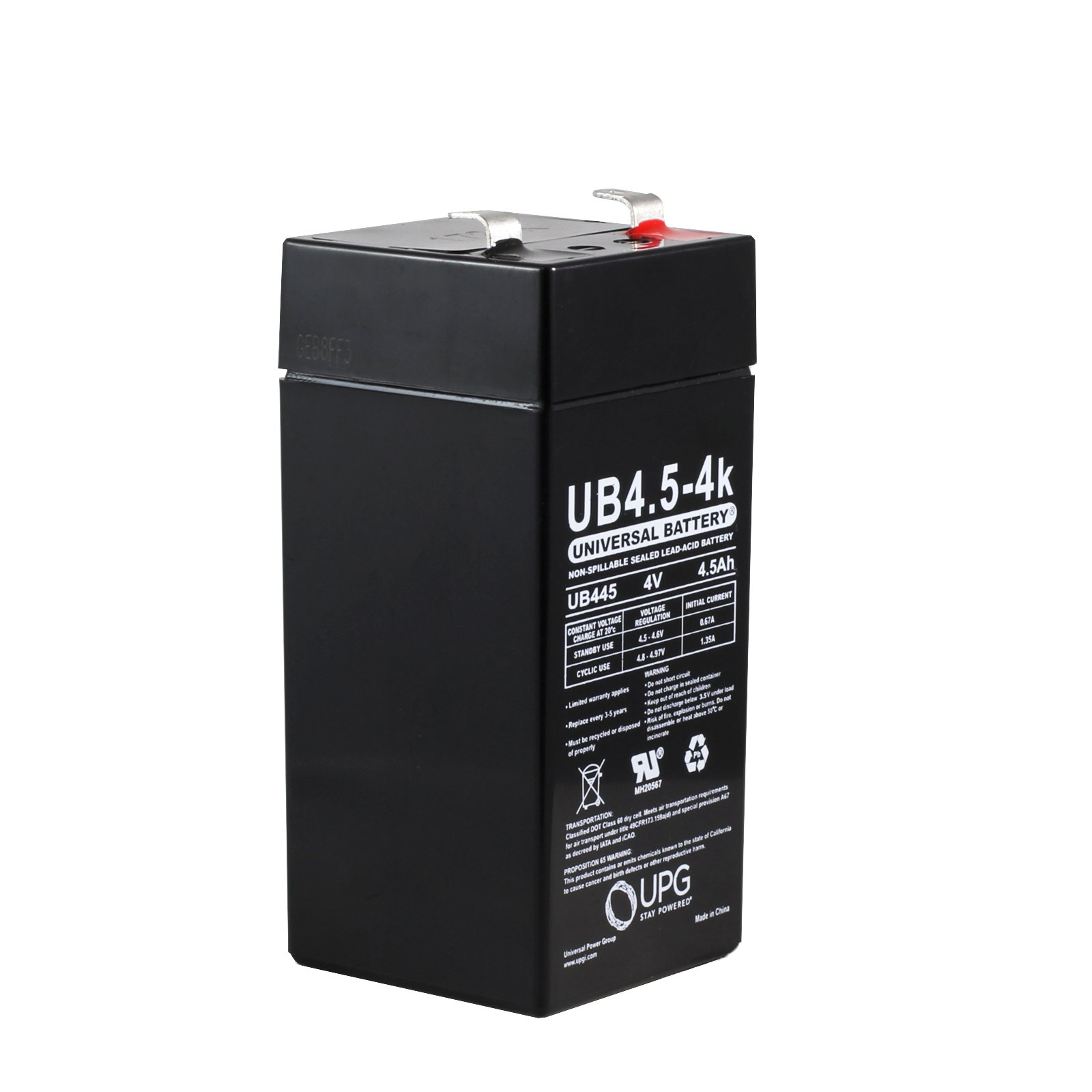 4 volt 4 5 ah sealed lead acid battery with f1 terminals. Black Bedroom Furniture Sets. Home Design Ideas