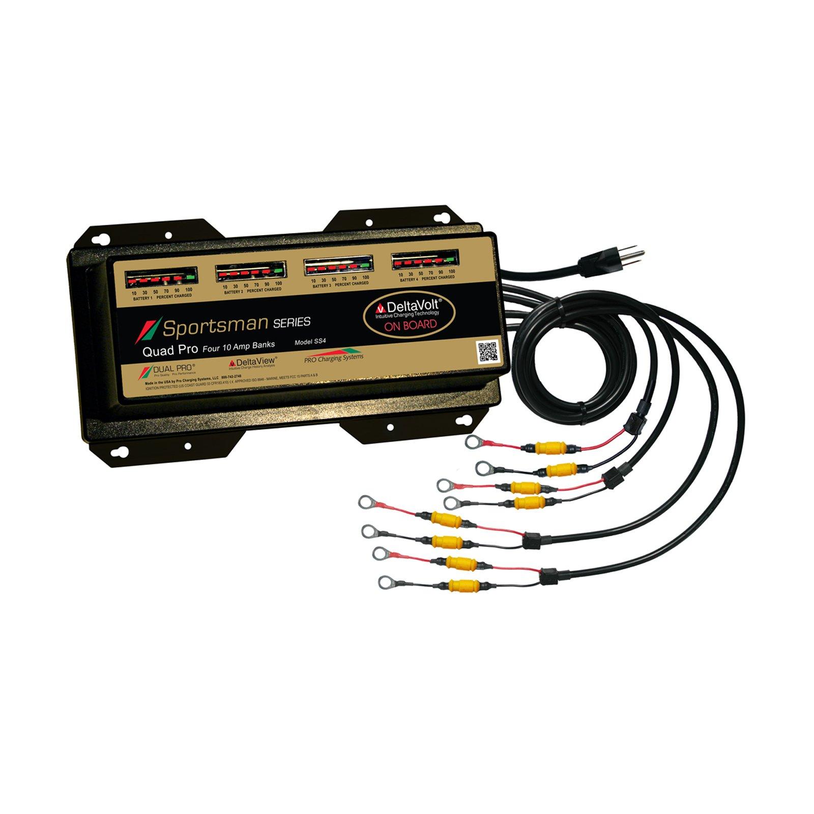 Dual Pro Sportsman Series 12 Volt 40 Amp Lithium Battery Charger Four 10 Amp Banks Battery Mart