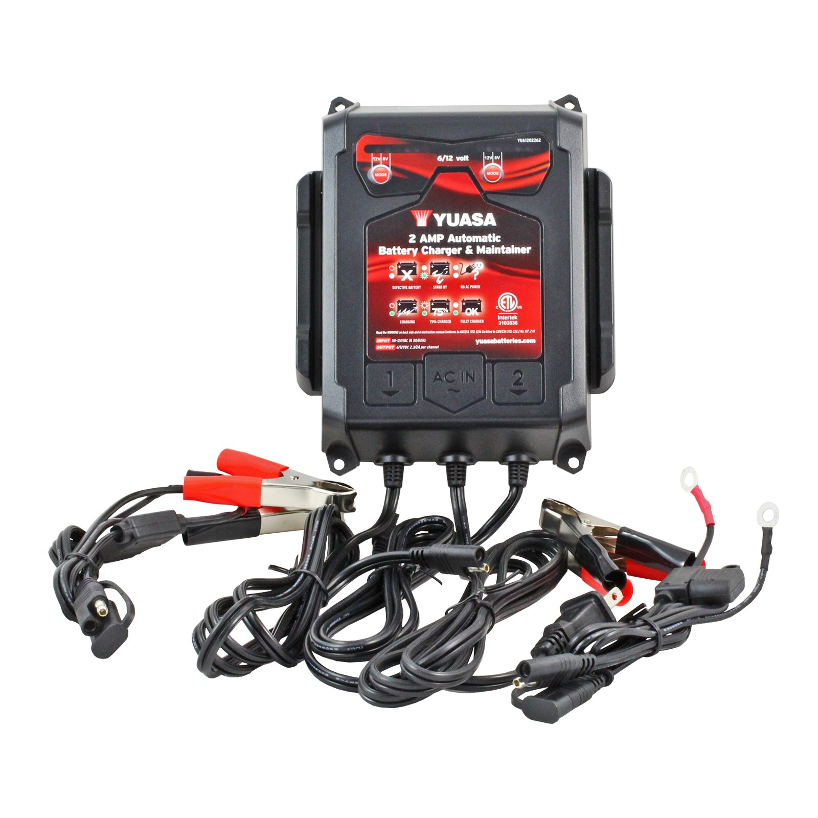 6//12 Volt 2A Sealed Lead Acid Battery Charger for Auto /& Marine Applications