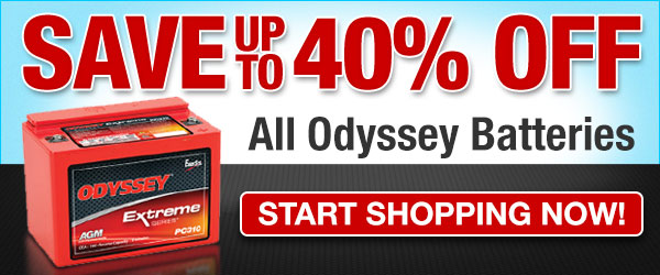 Save up to 40% Off All Odyssey Batteries... Start Shopping Now!